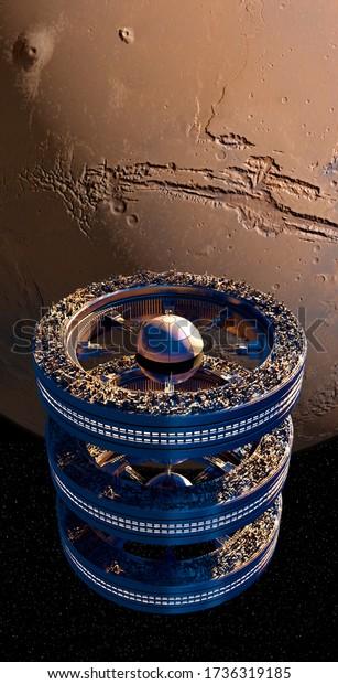 futuristic-spaceship-near-mars-three-600