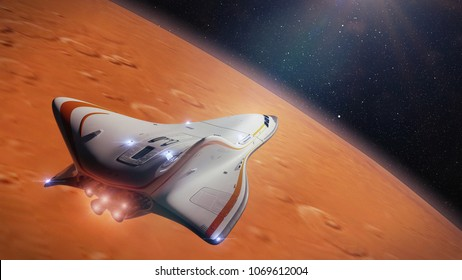 futuristic spaceship in orbit of the planet Mars, shuttle mission to the red planet (3d science fiction illustration, elements of this image are furnished by NASA)