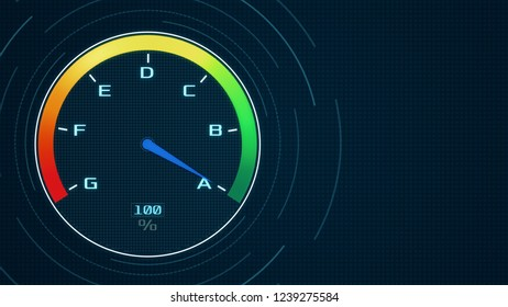futuristic speedometer with the pointer on A class, concept of energy efficiency (3d render)