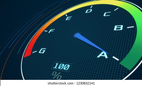futuristic speedometer with the pointer that pass from class g to class a, concept of energy efficiency (3d render)