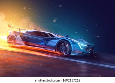 Futuristic sports car (3D Rendering)