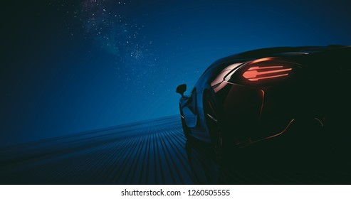 Futuristic Sports car driving under the Starry sky - 3d illustration