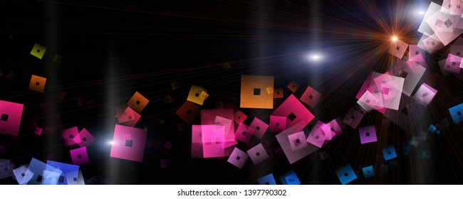 Futuristic square panorama background design illustration with lights