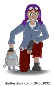 Futuristic Steam punk Mechanic Girl with Purple Hair holding Wrench and posing with Robot Illustration