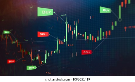 Futuristic stock exchange scene with chart, numbers and BUY and SELL options (3D illustration)