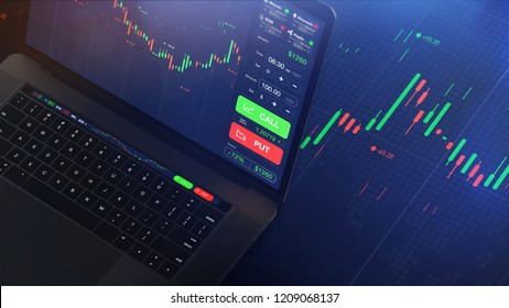Futuristic stock exchange scene with laptop, chart, numbers and CALL and PUT options (3D illustration)