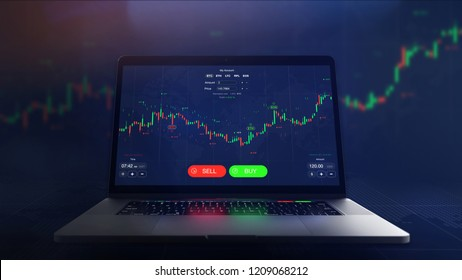 Futuristic stock exchange scene with laptop, chart, numbers and BUY and SELL options (3D illustration)