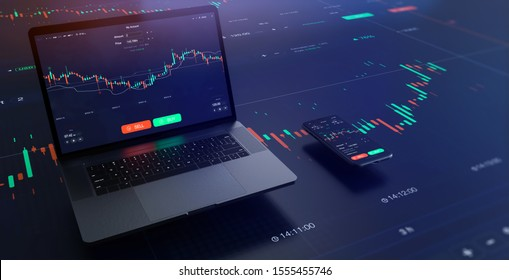 Futuristic stock exchange scene with laptop, mobile phone, chart, numbers and SELL and BUY options (3D illustration)