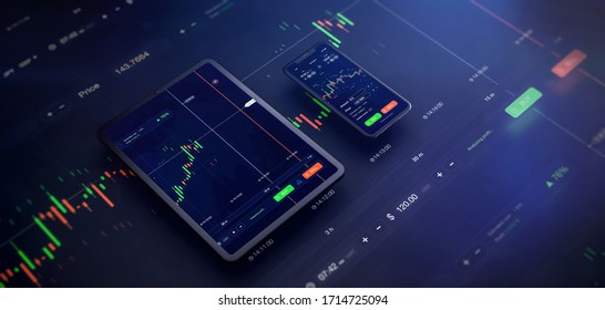 Futuristic stock exchange scene with tablet and mobile phone UI, chart, numbers and SELL and BUY options (3D illustration)