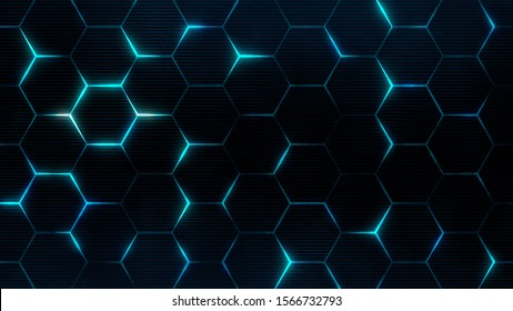 Futuristic surface concept with hexagons. Trendy sci-fi technology background with hexagonal pattern.