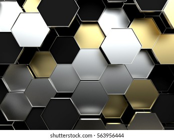 Futuristic surface with hexagons. 3d rendering