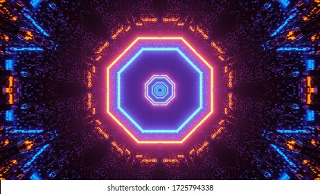 A futuristic symmetrical abstract background with octagon shapes and colorful neon lights