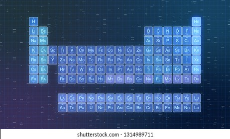 futuristic table of elements, abstract background, concept of science and technology (3d render)