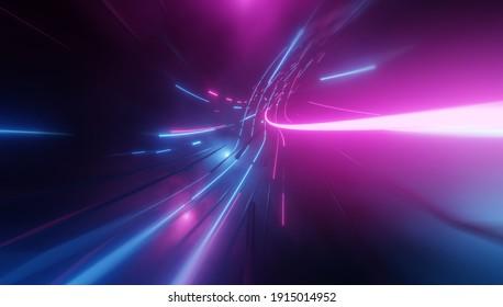 Futuristische Technologie abstrakter Hintergrund mit Linien für Netzwerk, Big Data, Rechenzentrum, Server, Internet, Geschwindigkeit. Abstrakte Neonleuchten in den digitalen Technologie-Tunnel. 3D-Darstellung