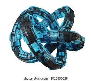 Futuristic torus technology textured object on white background 3D rendering