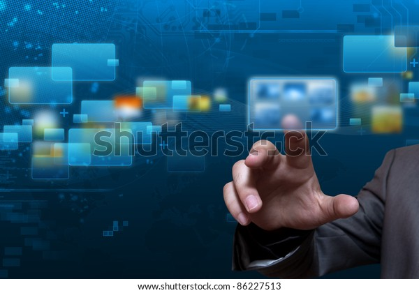 Futuristic touch screen display with streaming image