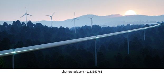 Futuristic traveling concept and renewable energy. High speed tube traveling technology concept and wind turbines in evening twilight. 3d rendering.