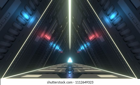 Futuristic triangle corridor with infra-red and ultraviolet lights. 3D rendering