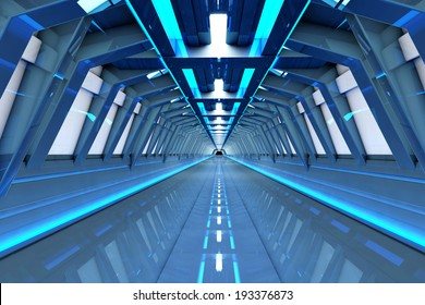 A futuristic tunnel interior. 3D rendered Illustration.