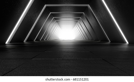 Futuristic tunnel with light, interior view. Future background, business, sci-fi or science concept. 3d illustration