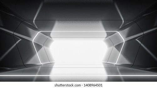 Futuristic tunnel with light, Spaceship corridor. interior view. Future background, business, sci-fi or science concept. 3d rendering