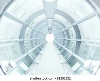 Futuristic tunnel of steel and metal, interior view. Futuristic background, business concept