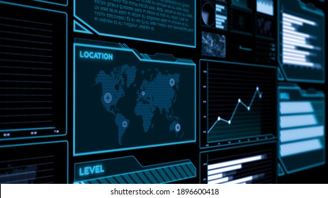 Futuristic user interface dashboard for big data analytic in information chart . HUD GUI text number graph element for digital technology concept . 3D illustration .