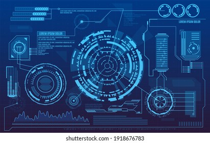 Futuristic User Interface With Digital Infographics Data Charts