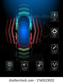 Futuristic user interface. HUD Abstract virtual graphic touch user interface. Cars infographic.  science abstract.  illustration. Automatic braking system avoid car crash from car accident