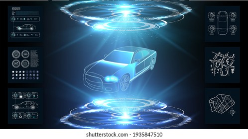 Futuristic user interface. HUD UI. Abstract virtual graphic touch user interface. Car service in the style of HUD. Virtual graphical interface Ui HUD Autoscann.