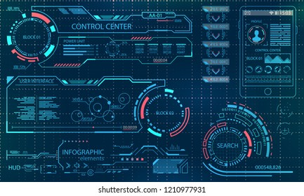 Futuristic User Interface. Virtual Graphic Touch UI for VR. HUD Infographic Elements for Motion Design