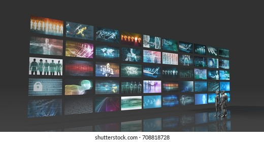 Futuristic Video Wall with Virtual Hologram Projection 3D Illustration Render