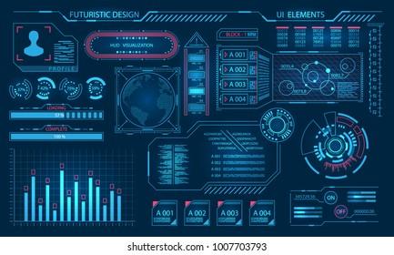 Futuristic Virtual Graphic User Interface, HUD Elements