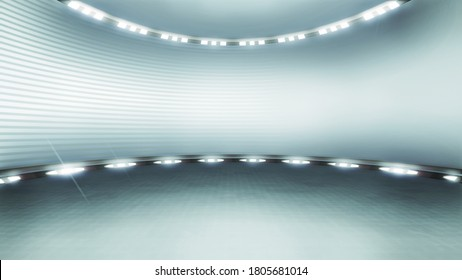 Futuristic virtual studio backdrop, with spotlights. Ideal for virtual tracking system sets, with green screen. (3D rendering)