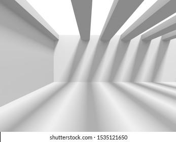 Futuristic White Architecture Design Background. Construction Concept. 3d Render Illustration