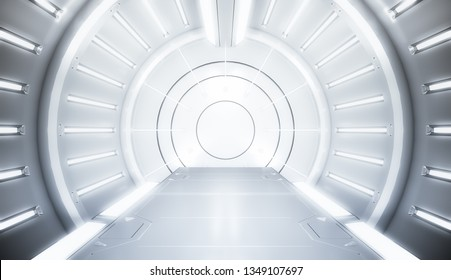 Futuristic white tunnel with light. Long corridor interior view. Future sci-fi background concept. 3D rendering.