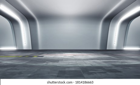 Futuristic white VR studio set, backdrop. Ideal for virtual tracking system sets, with green screen. (3D rendering)