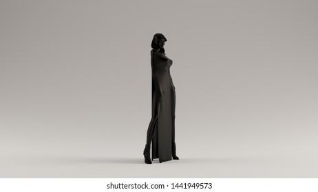 Futuristic Woman In a High Hip High Leg Split Dress 3d illustration 3d render