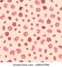 Fuzzy water colour flower seamless wallpaper, floral background. Blured  watercolor botanical illustration, blossom hand painted repeat texture