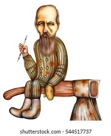 Fyodor Dostoyevsky - caricature of the Russian writer. 1821 - 1881.