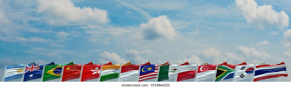 G14 flags waving with texture background- 3D illustration - 3D render