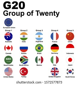 G20 (Group of Twenty). Flags of member countries, icon set. Raster illustration.