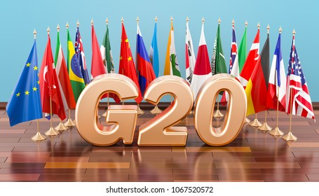 G20 meeting concept, flags of all members G20. 3D rendering