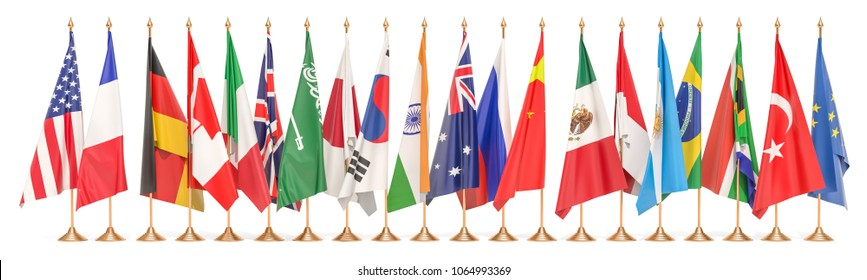 G20 meeting concept, row from flags of all members G20. 3D rendering isolated on white background