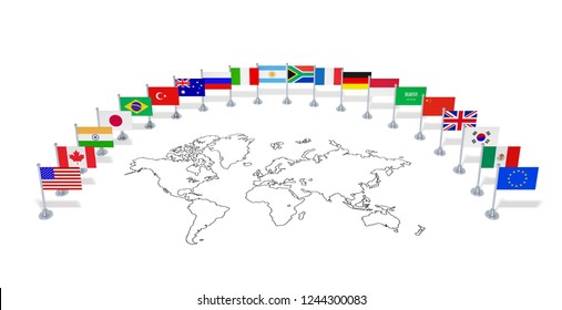 G20 summit (economic political concept). Flags of twenty member countries with world map. Group of national flags as partners of international meeting. 3d illustration