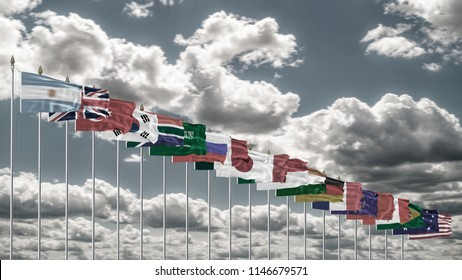 G20 summit flag Silk waving flags countries of members Group of Twenty political 2018 meeting G 20 organization with flagpole on background gray blue sky with clouds real retro photo 3D illustration