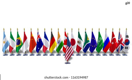 G20 USA flag Isolated Silk flags on racks countries of members Group of Twenty summit 2018 meeting G 20 world leaders unity organization with flagpole with shadows on white background 3D illustration