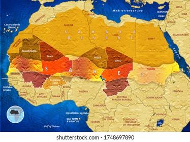 G5 Sahel Region With Bordering Countries and Sahara Desert, 3D illustration