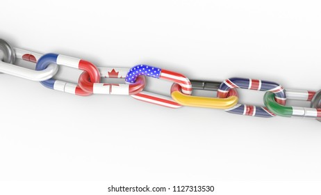 g7 country flags chain 3d illustration