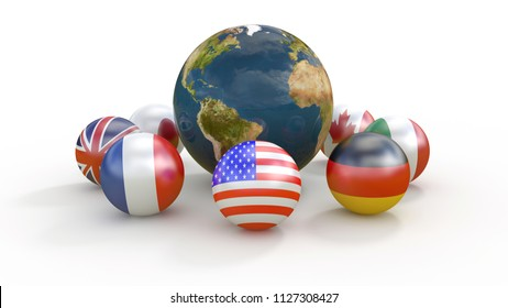 g7 country flags on spheres around the planet earth 3d illustration